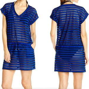 Calvin Klein Black & Blue Striped Beach Coverup XL